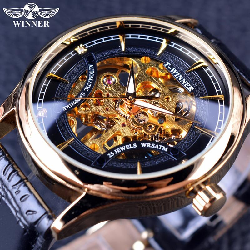 WINNER Gold Watches Top Luxury Brand Full Steel Sports Design Male Skeleton Wristwatches Men Automatic Mechanical