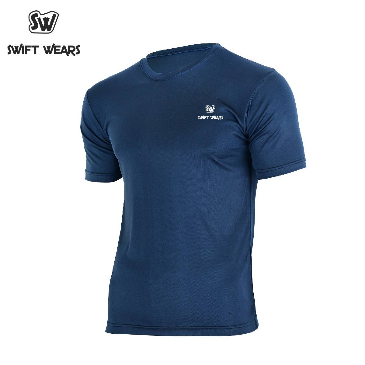 Men's Football Quick Dry Sports Gym Fitness Exercise Running Shirt Navy Blue
