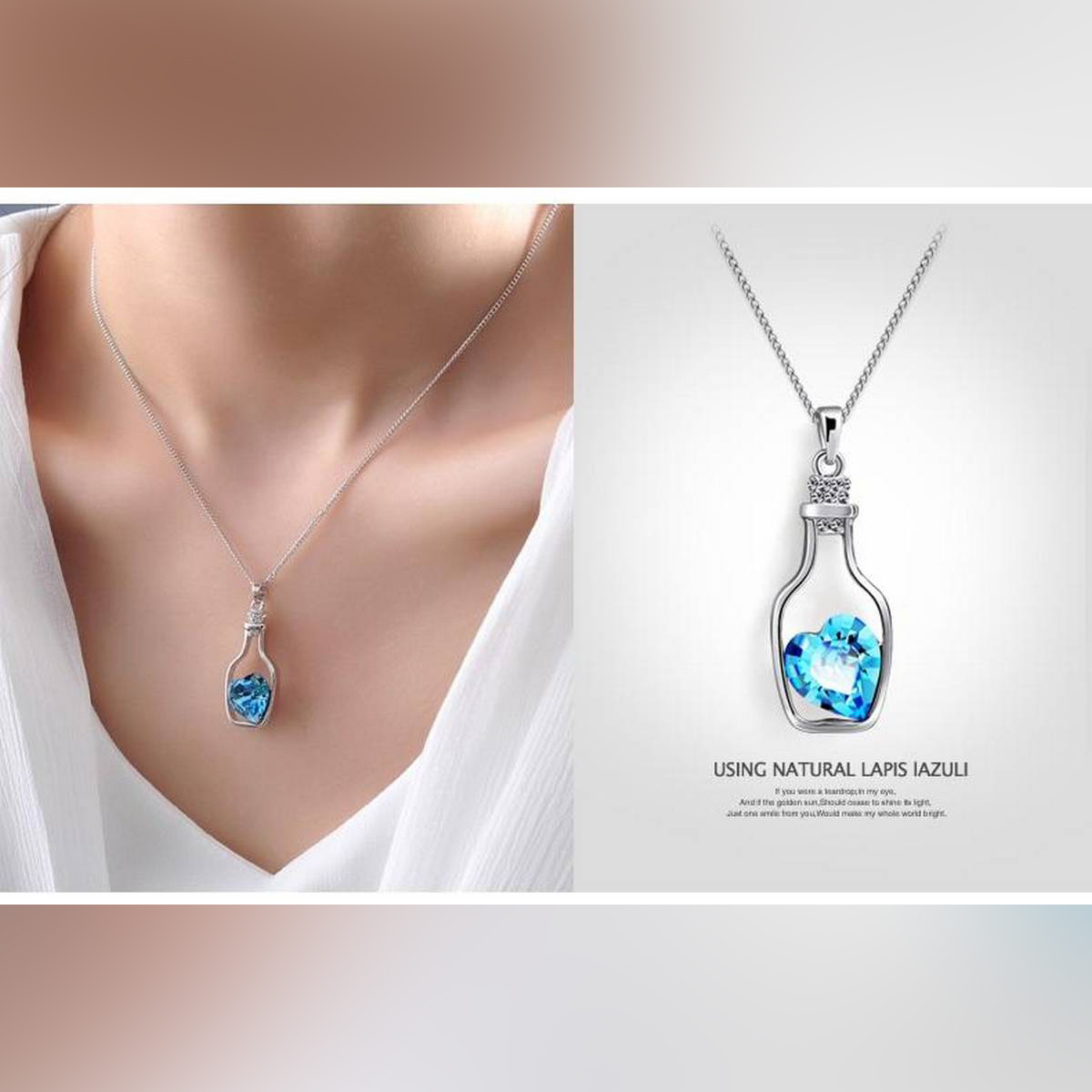Luxuries Style Tiny glass Bottle Necklace. love potion bottle. necklace for girl, Cute Necklace, heart necklace, gift for women, Crystal Heart Pendant Necklace,