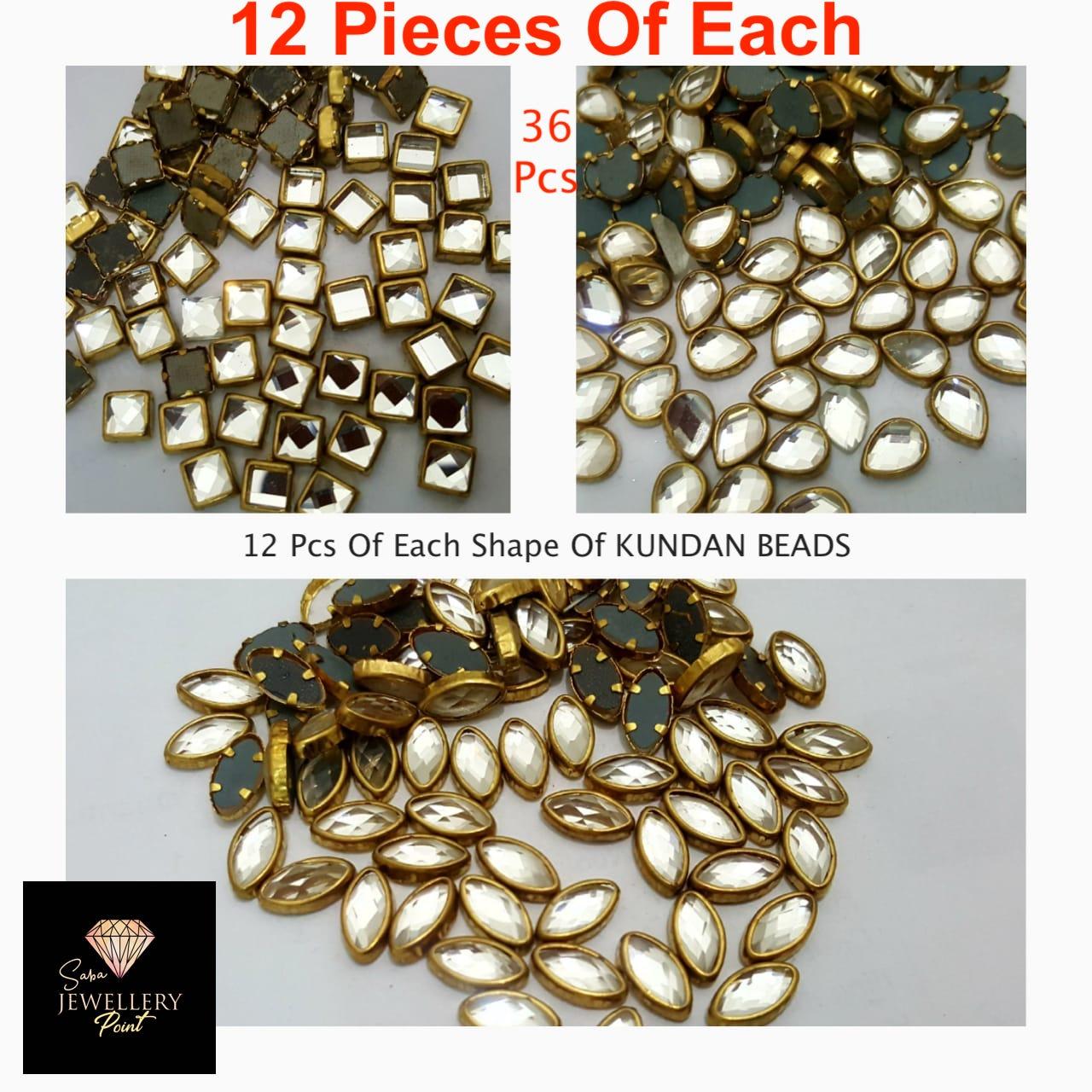 36 Pcs Total (12 Pcs Each) Real Kundan Beads DIY Sewing Jewelry Decoration (Leave Shape 1, Leave Shape 2, Square Shape)