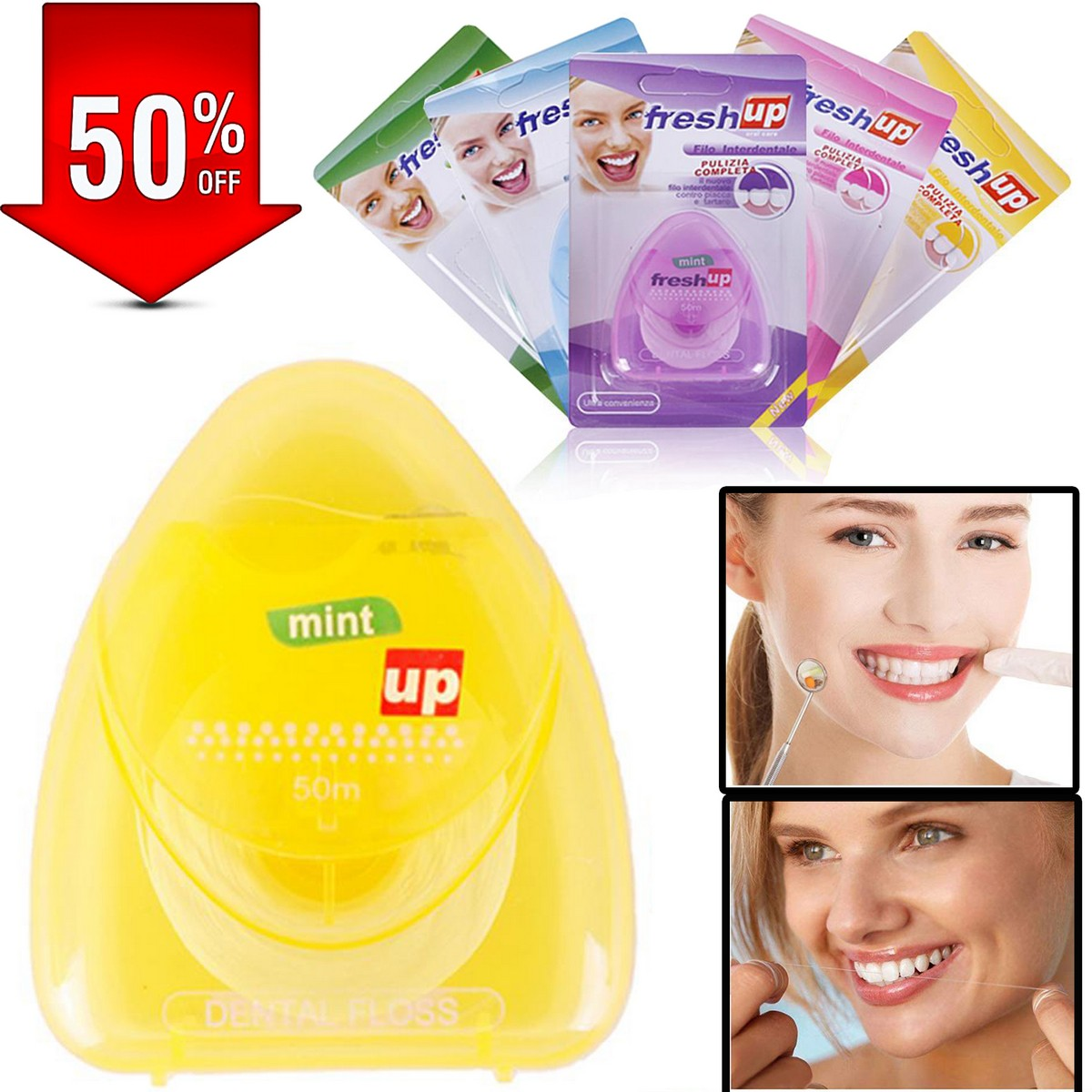Dental Floss Micro Wax Peppermint flavor Mint Flavour Freshup Flosser Interdental Brush portable oral hygiene care Freshup flat clean teeth wire Flossier 50M Best quality floss wire