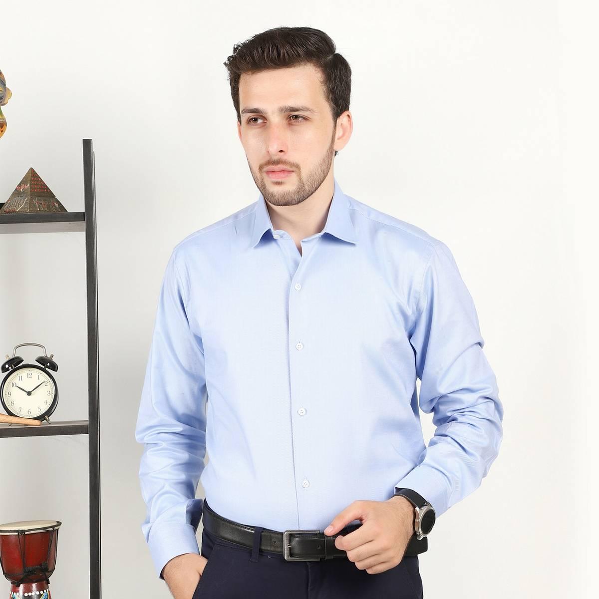 GM Blue Self Lining Shirt For Men CS-1071