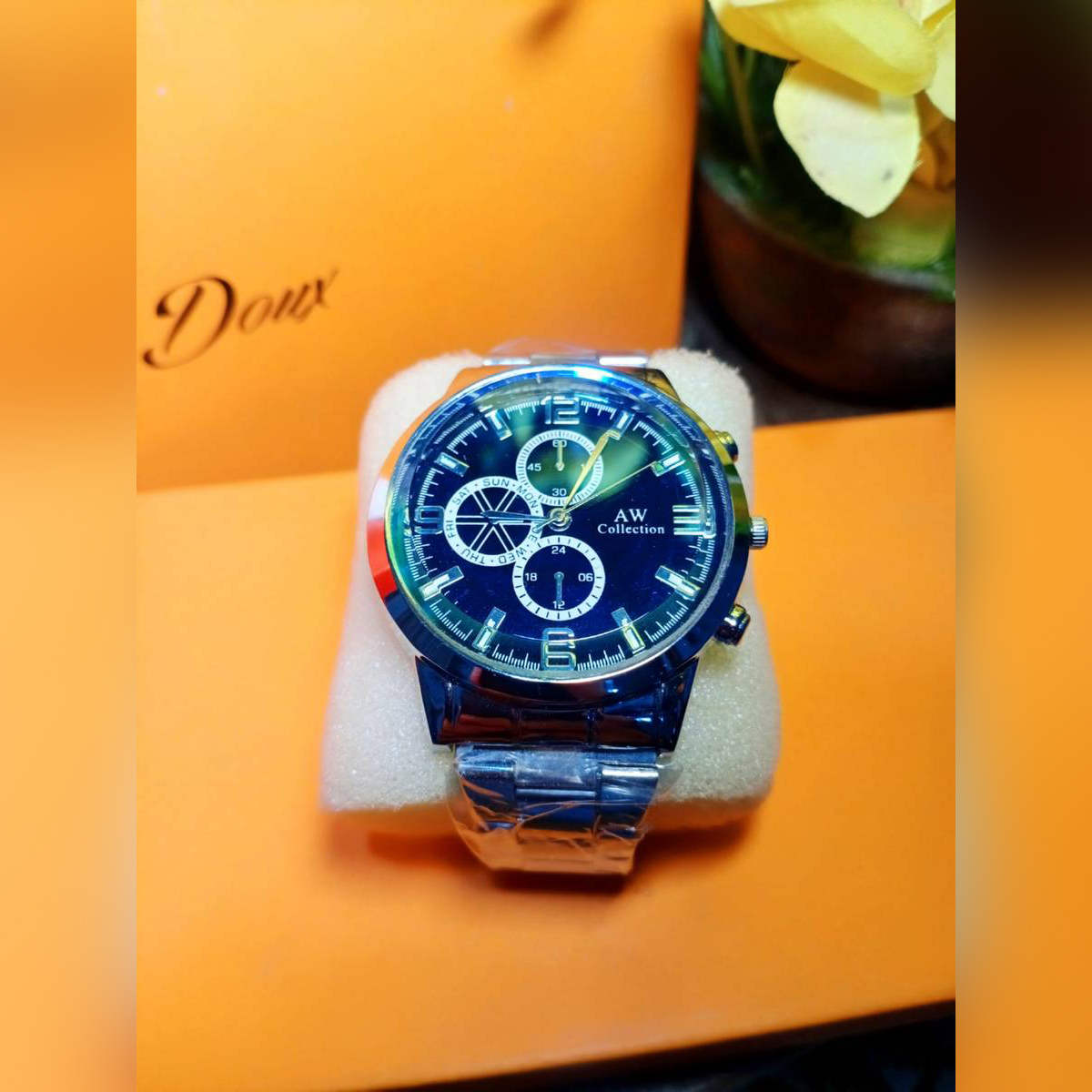 Men Silver Chain Royal Blue Business Watch With Advance Functionality Latest Analog Watch