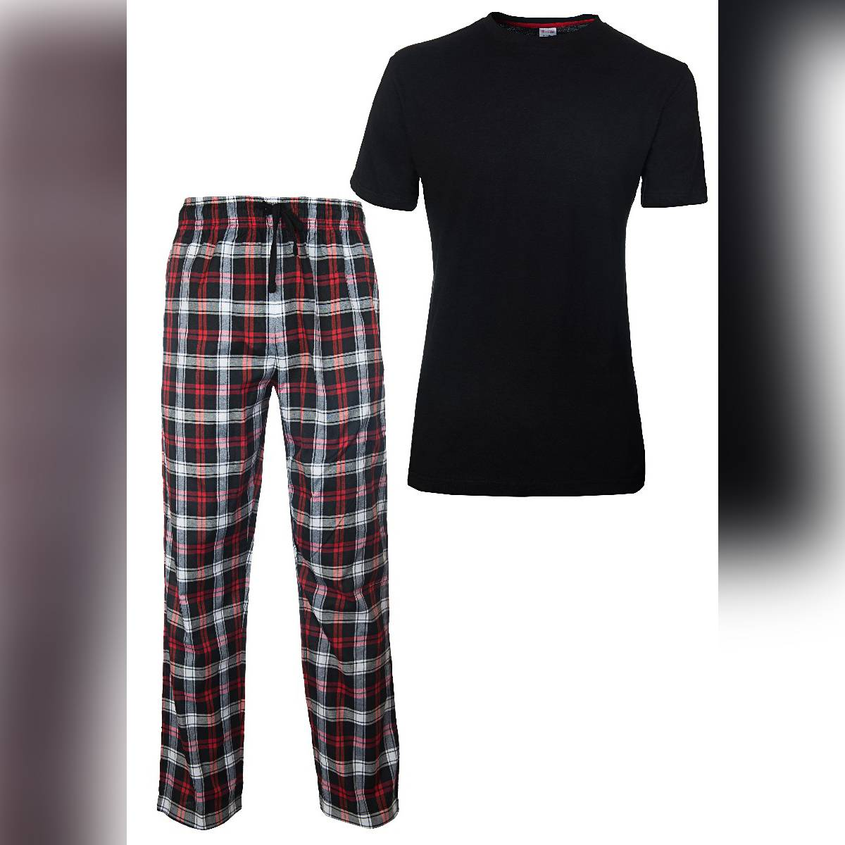 Men's New Pyjamas Set, Checked Pyjamas for Men, Men's Pj's Cotton Short Sleeves Round Neck T-Shirts, Woven Men's Pyjamas. NEW Men's CHECK Print Pyjama Set, Lounge Wear, Short Sleeve T Shirt Top, Night Wear. ~ Black 2
