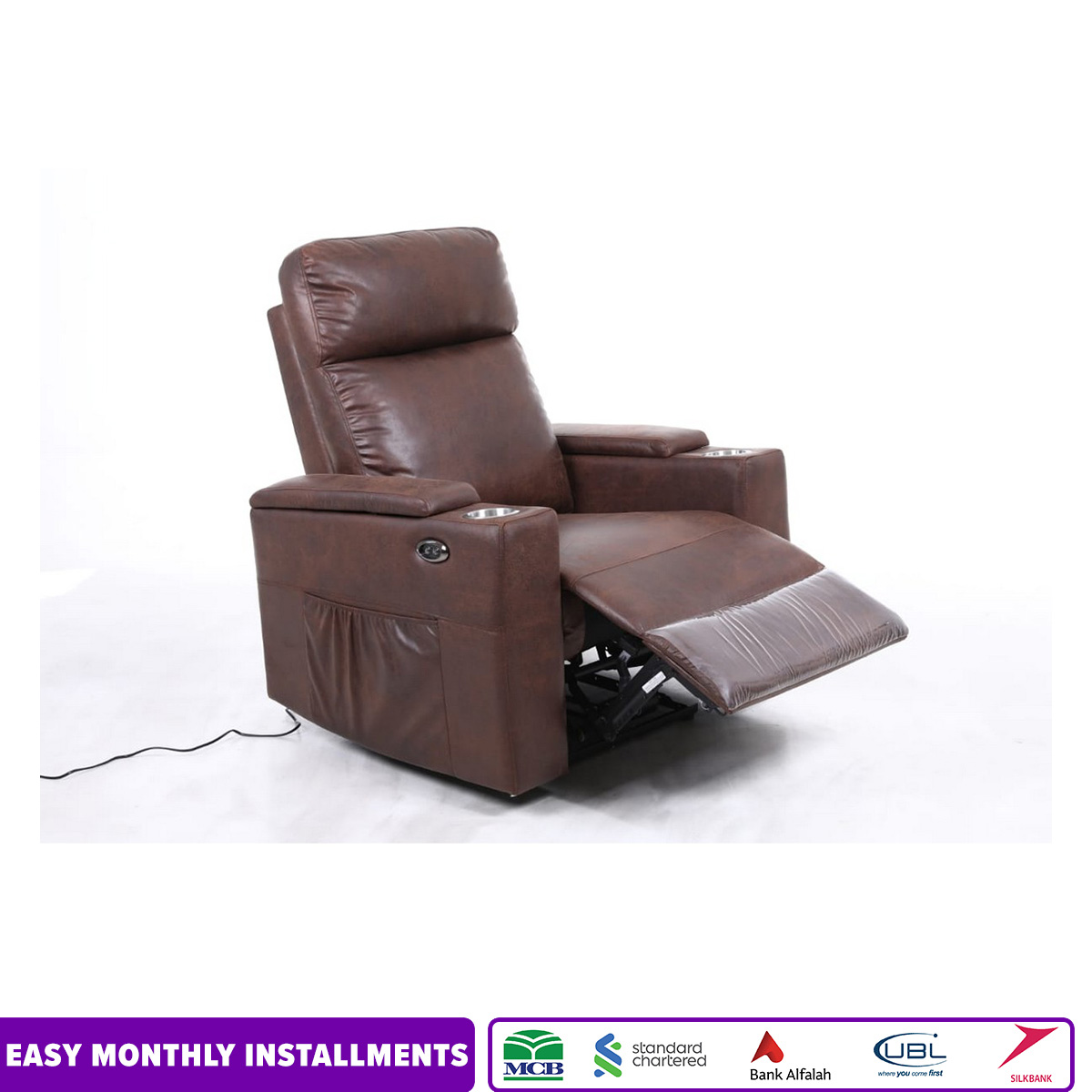 IMPORTED ELECTRIC MOTION POWER RECLINER SOFA WITH SIDE ARM STORAGE AND MOBILE CHARGING PORT