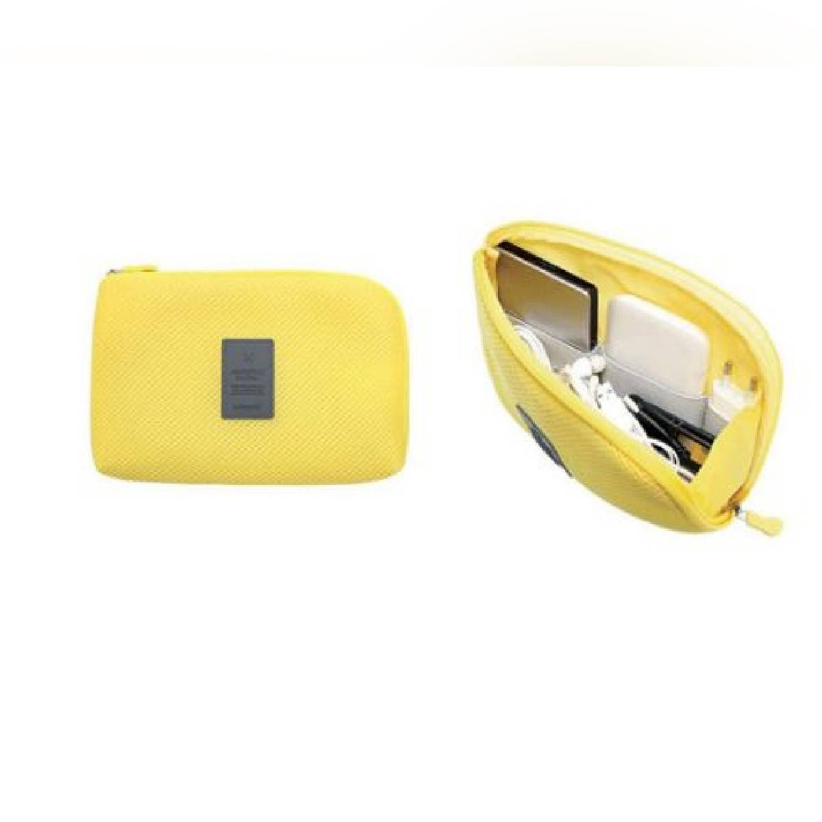 Multi-Functional Portable Slim Travel Cable/Makeup Pouch Case for Small Electronic/Cosmetic Accessories - Yellow