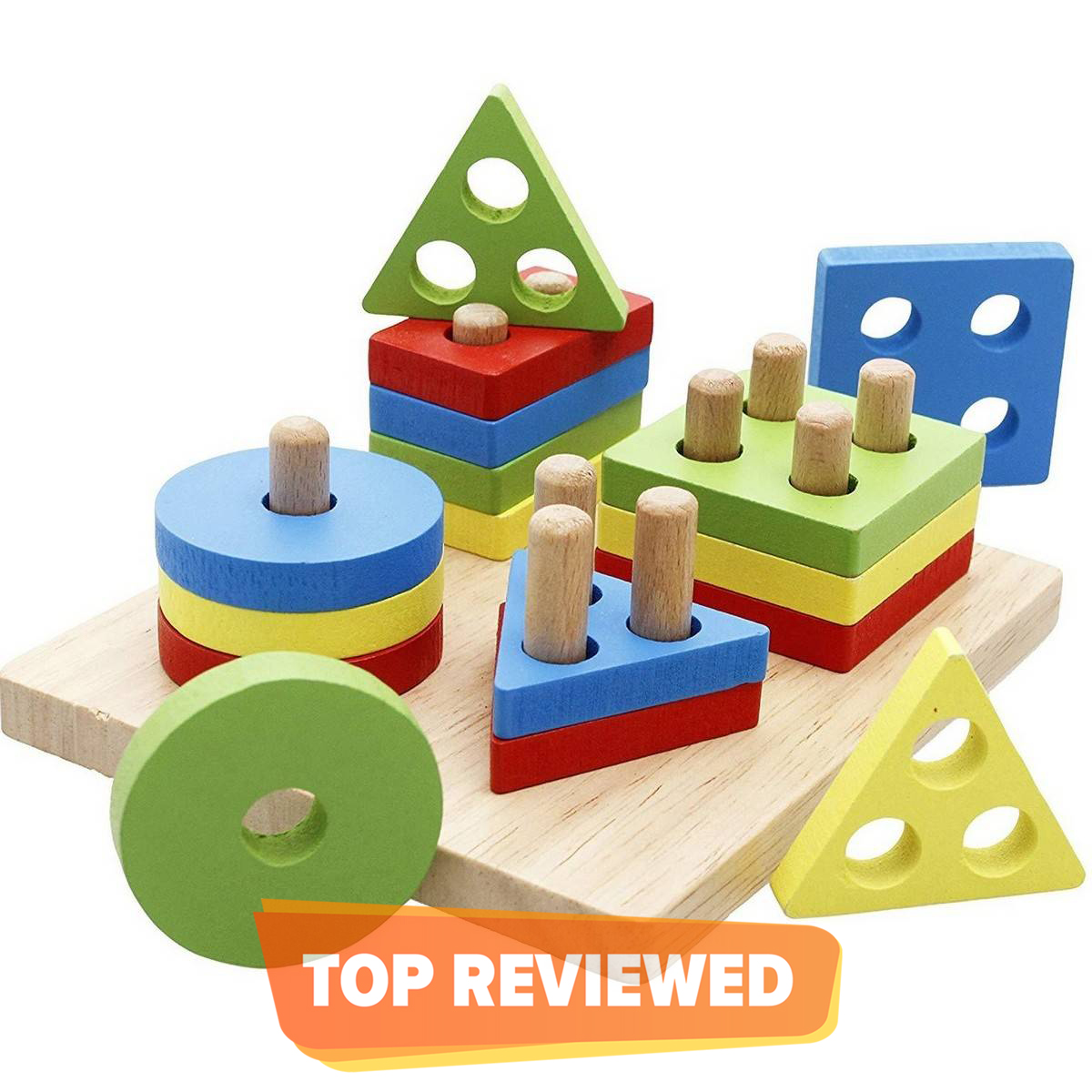 Lewo Wooden Puzzle Toddler Toys Shapes Sorter Preschool Geometric Blocks Stacking Games for Kids Geometric Shape Sorter