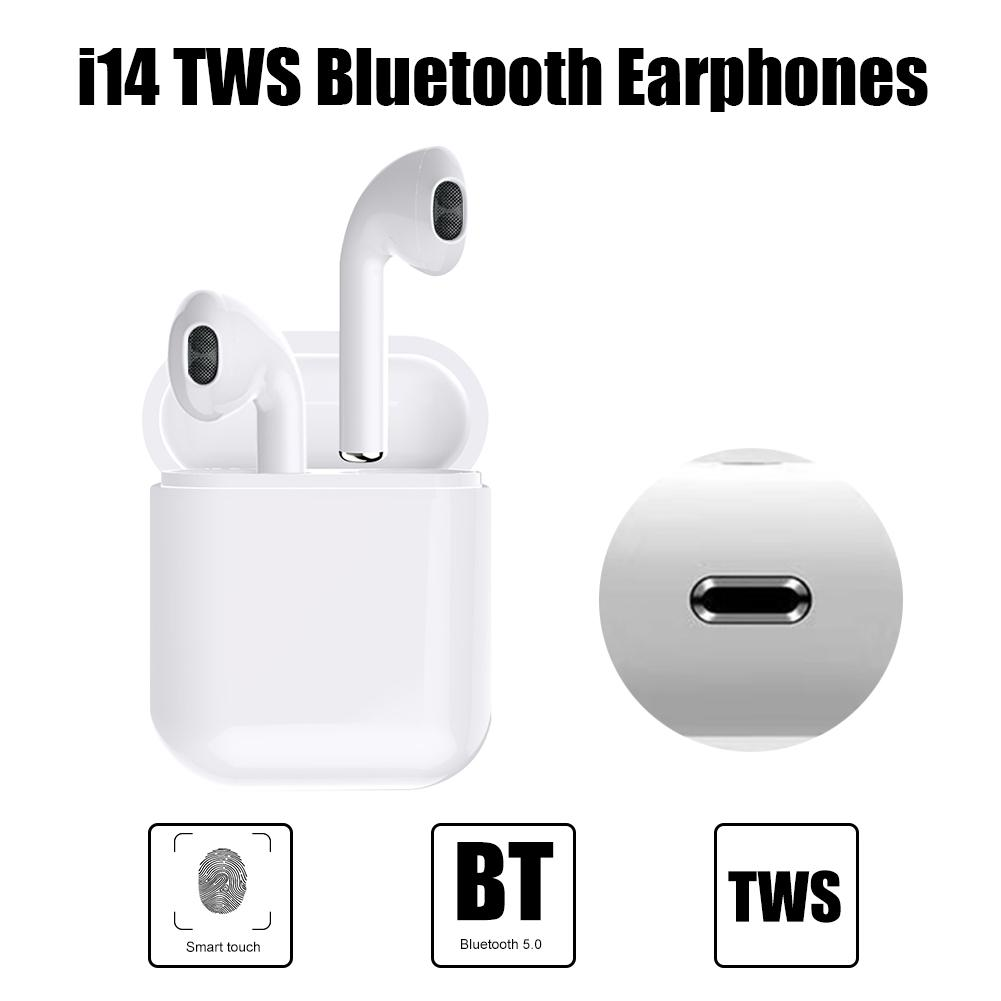 0ec3834f8da i14 TWS Bluetooth Earphones 5.0 Portable Smart Touch Headphones Binaural  Call Talk Headset with Charging Compartment