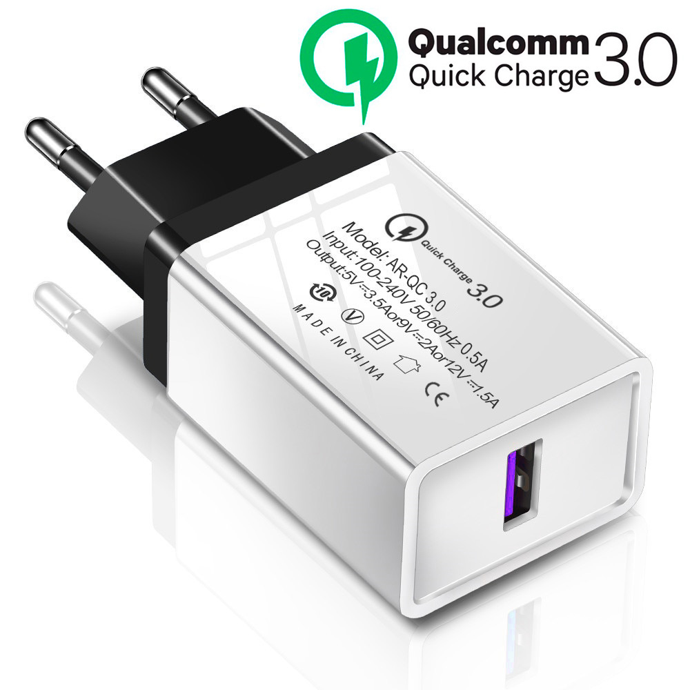 Qualcomm QC 3.0 Fast Charger 3A 18W Quick Charge For All Brands / For Samsung / HTC / Infinix / Xiaomi / Huawei / Nokia / Lenovo - White