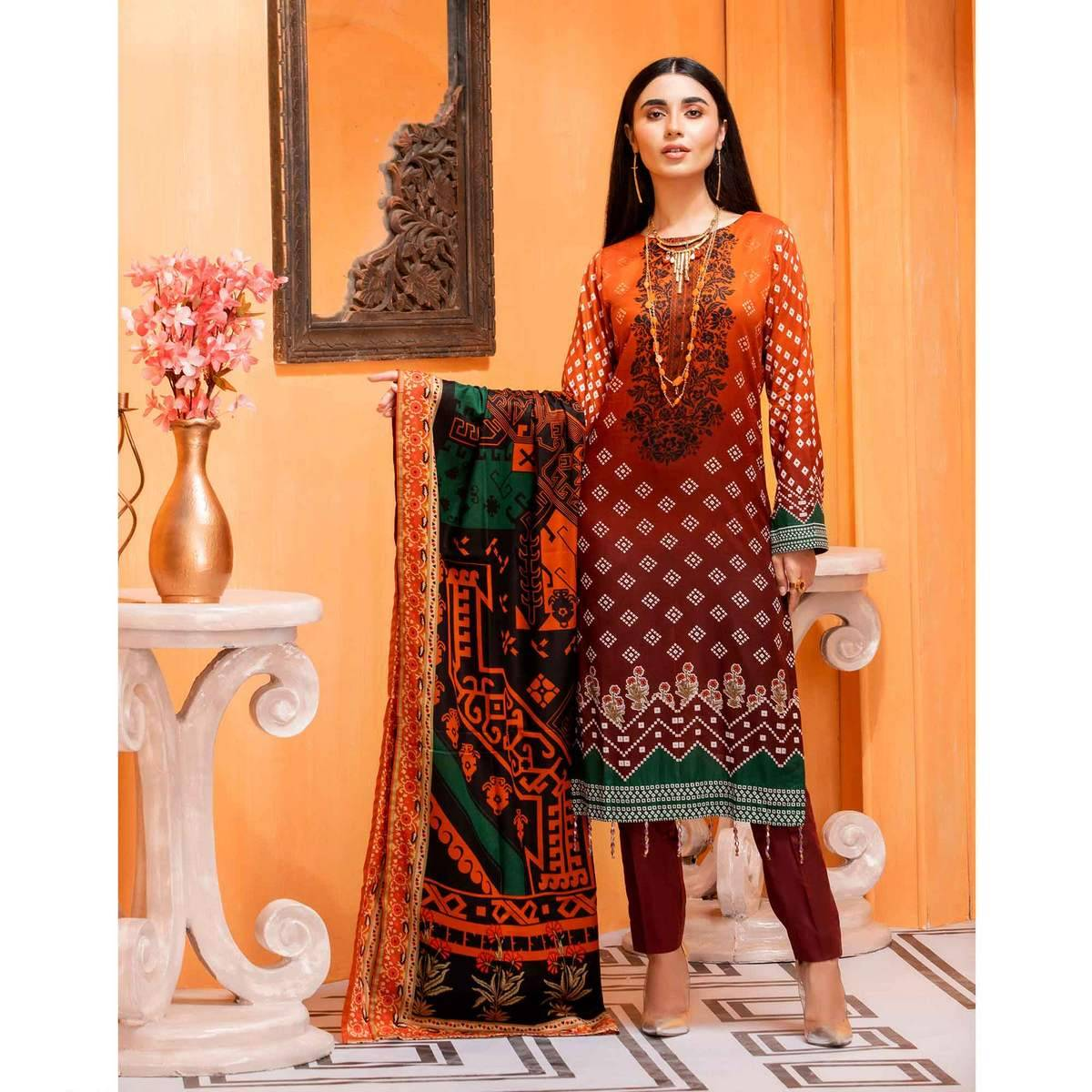 """""""Brown Unstitched - 3 PCs Inaya Lawn Suit for Women"""""""