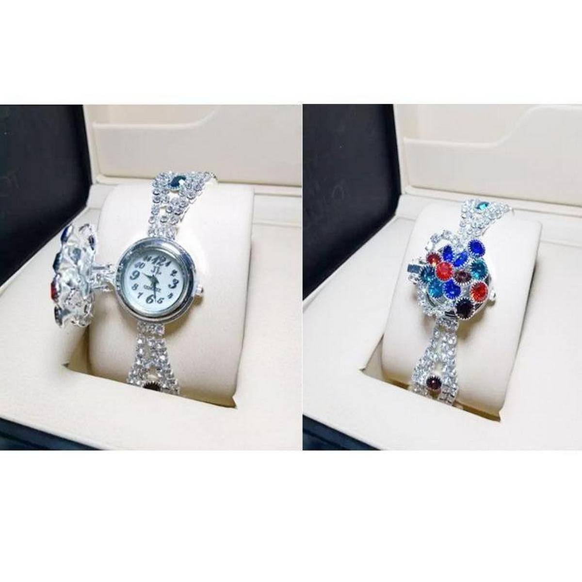 Stylish Silver Diamond Watch For Women