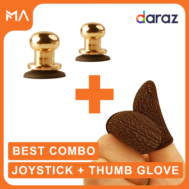 Metal Joystick Trigger Triger + Thumb Gloves Sleeves For Pubg Mobile Controller Gamepad