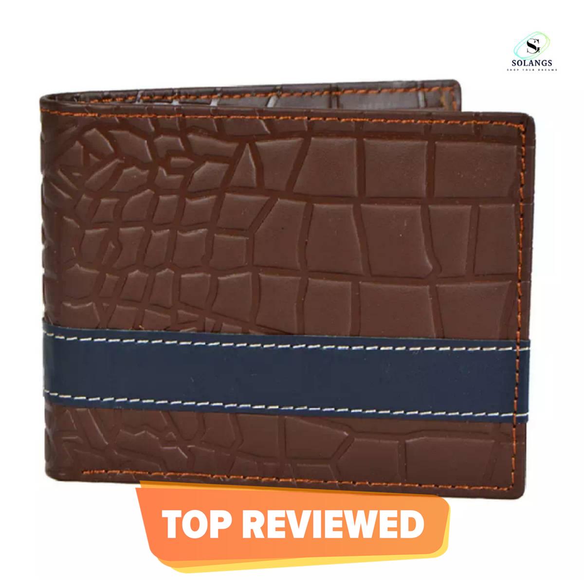 Genuine Leather Crocodile Design Trifold Card Holder Wallet for Men - Brown