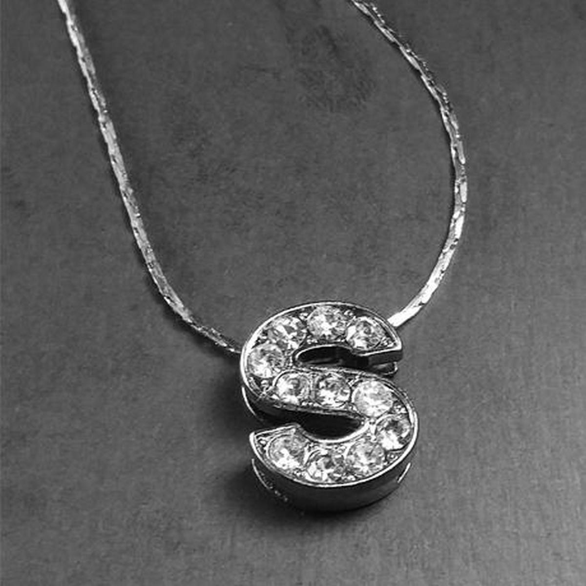 """Silver Stainless """"S"""" Alphabet Locket with Chain For Girls"""