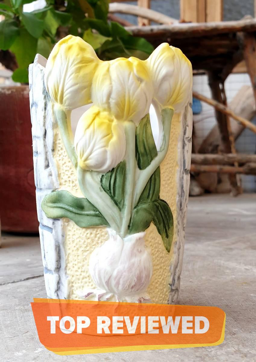 New Lemon Yellow and Gray Vase
