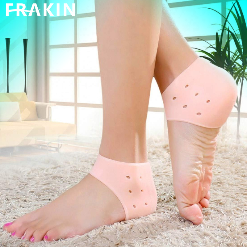 FRAKIN 1 Pair (2PCS) Silicone Gel Heel Crack Protector Anti Crack Moisturizing Foot Pain Care Leg Pain Relief Heel Socks Tumit Sakit Non-Slip Silicone Sock (Human Skin Color)