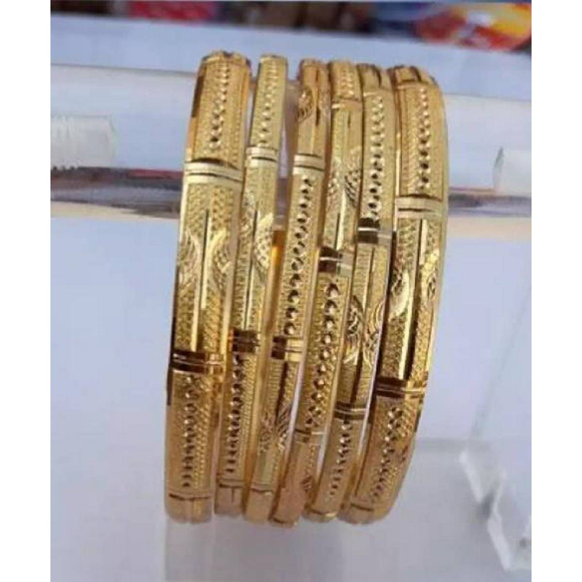 Gold plated bangles pack of six