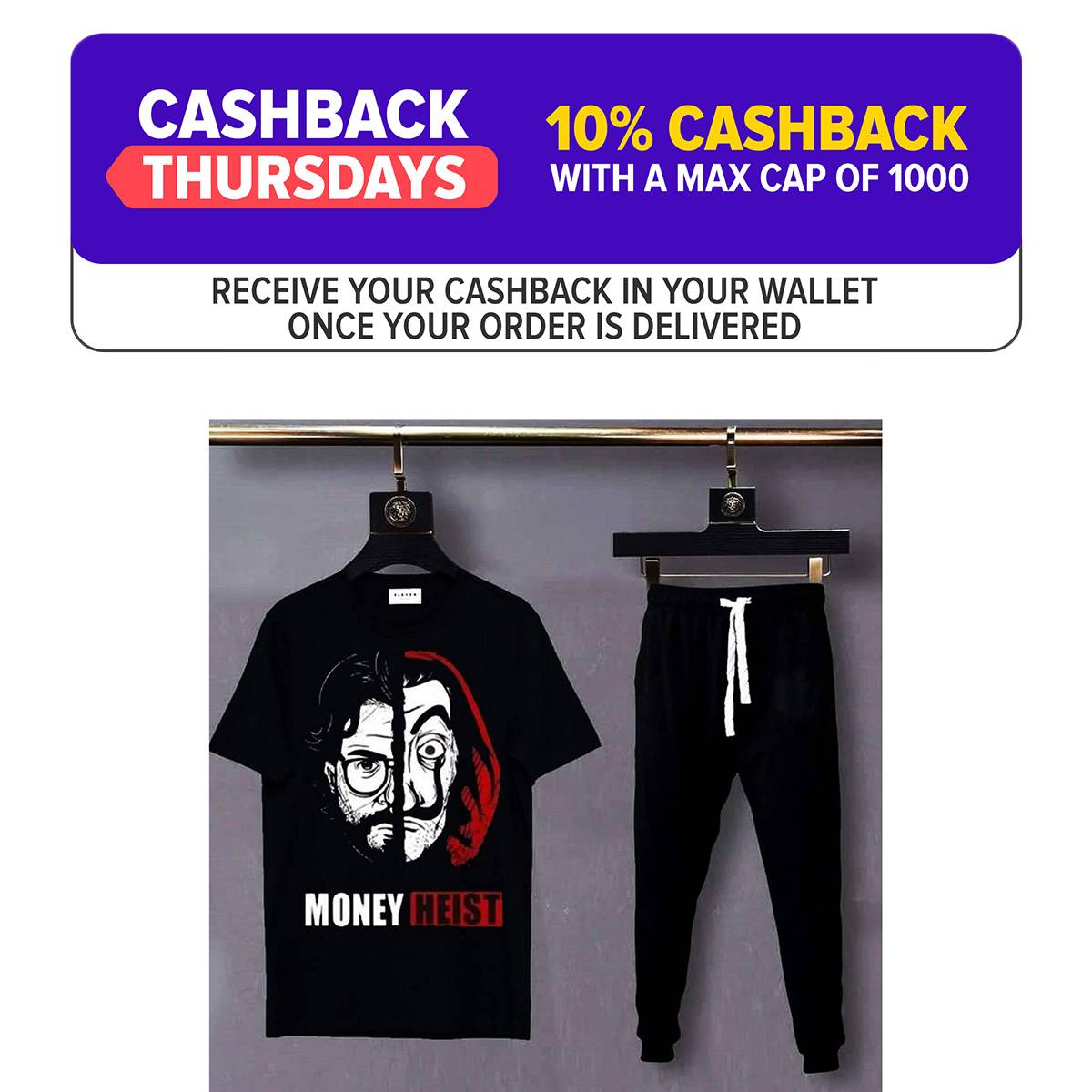 Pack Of 2 Money Heist Printed Cotton T Shirt With Matching Trouser For Men Summer Tees And Jogging Pants Top Quality