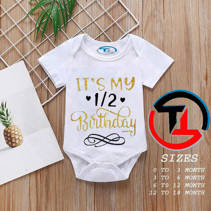 Printed Baby Girls and Boys Half Birthday Cotton Baby Vests Body suits Newborn to 18 Months, Baby Romper Infants Onesies