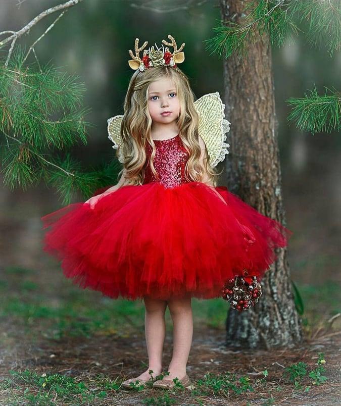Red Fancy Frock For Girls