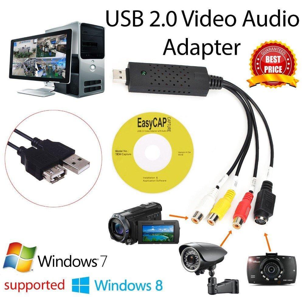 Easycap USB 2 0 Easy Cap Video TV DVD VHS DVR Capture Card Easier Cap USB  Video Capture Device Support Win10
