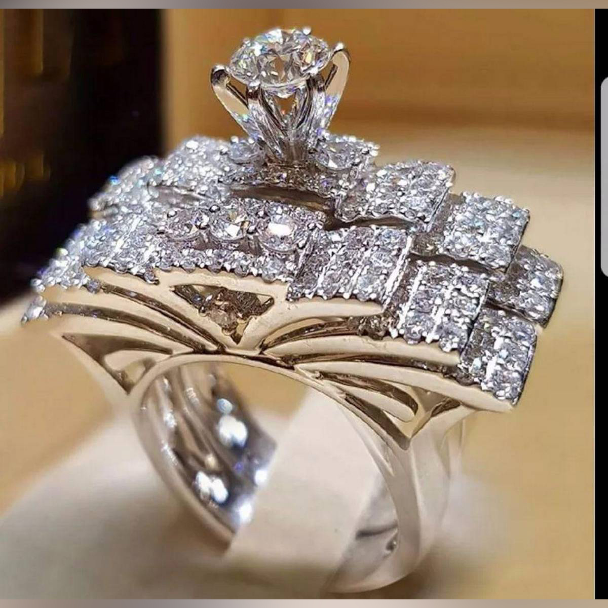 ring Wedding Engagement Rings Set 2 PCS Silver Anniversary Accessories With Full Shiny Cubiz Zircon Stone ring