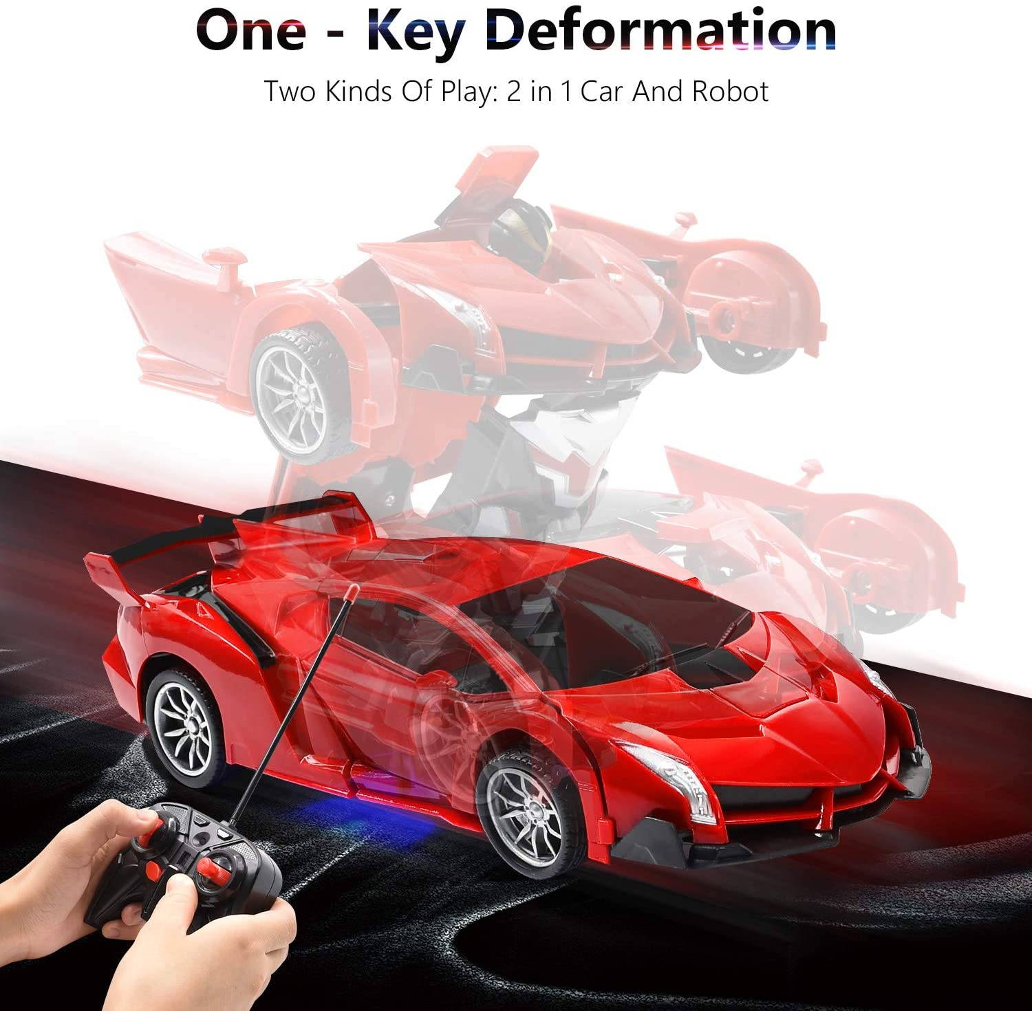 Transform RC Car Robot for Kids,R/C Transforming Robot Car,One Key Deformation Robot Car,One-Button Auto Demo&360 Rotate Speed Drifting &Rechargable for Kids