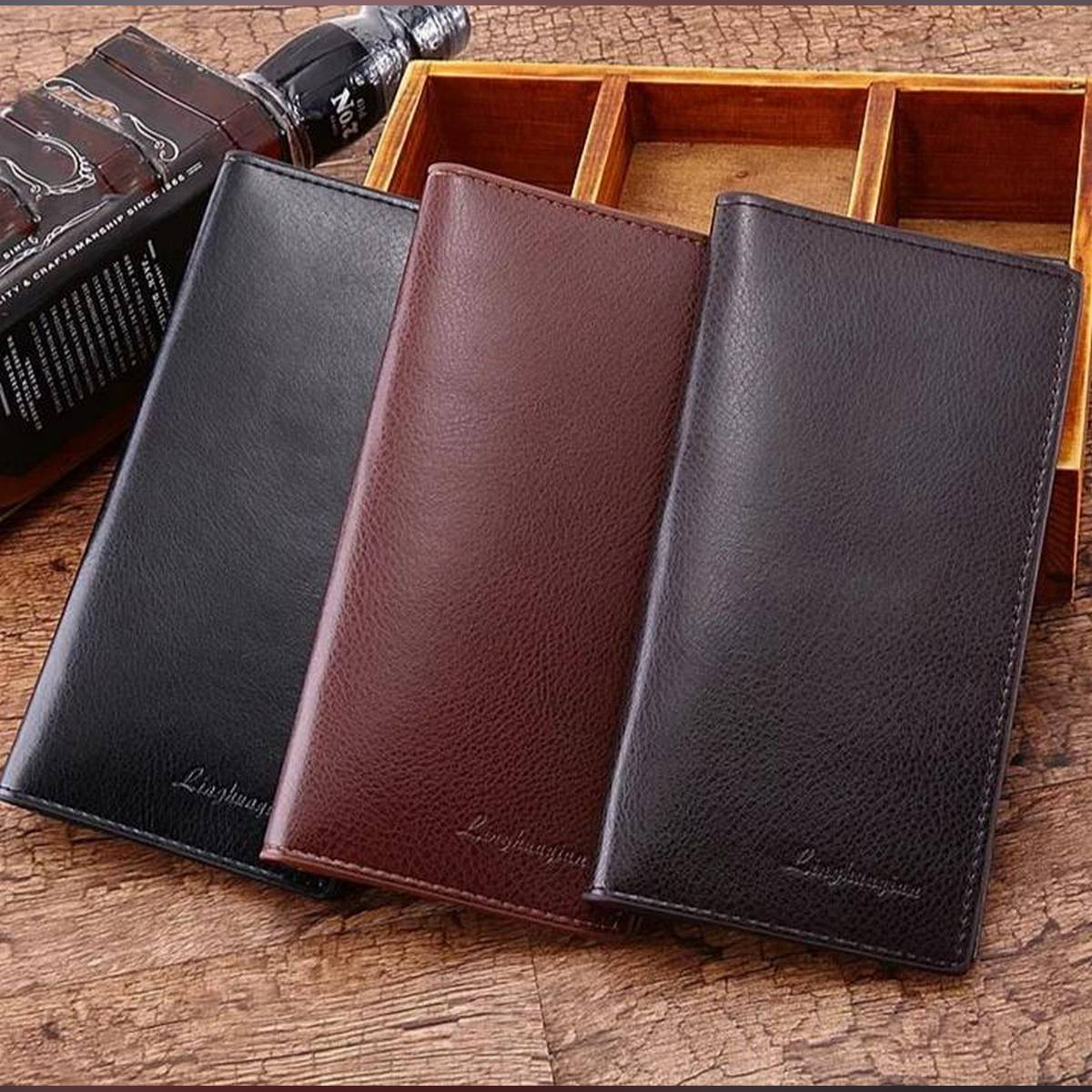 Leather Man Wallet  Card Holder and mobile pouch, long wallet