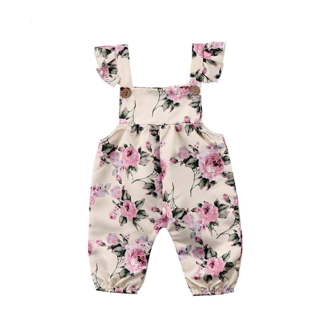 cc1268948fb Rainbowroom Infant Baby Girls Sleeveless Floral Print Jumpsuit Romper  Outfits Clothes