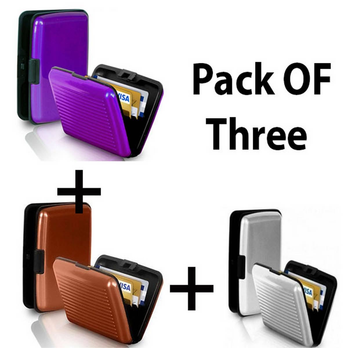 Pack Of Three  Aluma Wallet Water Proof Resistant Card Protect Holder 6 pockets Ultra Slim Portable For Travel Both For Men And Women- Plastic with Tin Coated