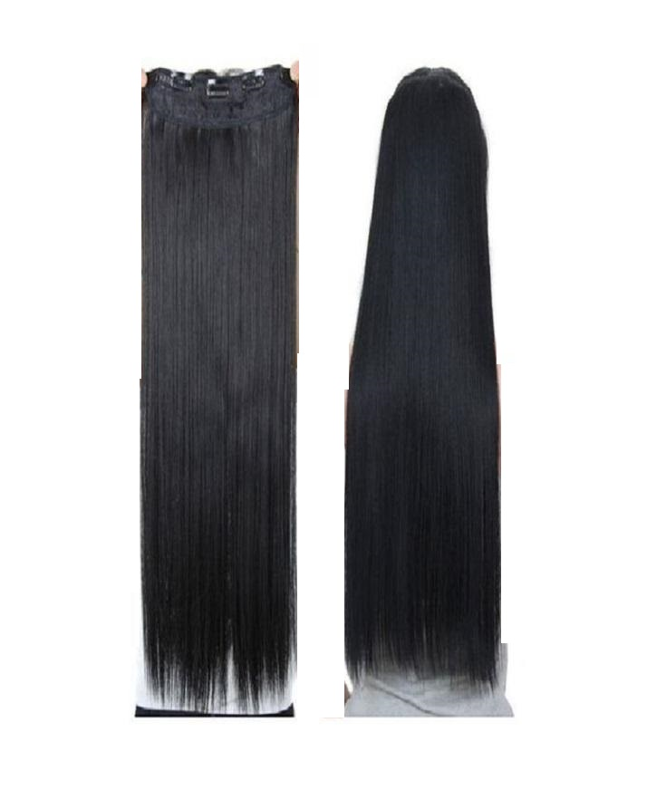 Straight Hair Extensions Wig for Girls - Natural Black