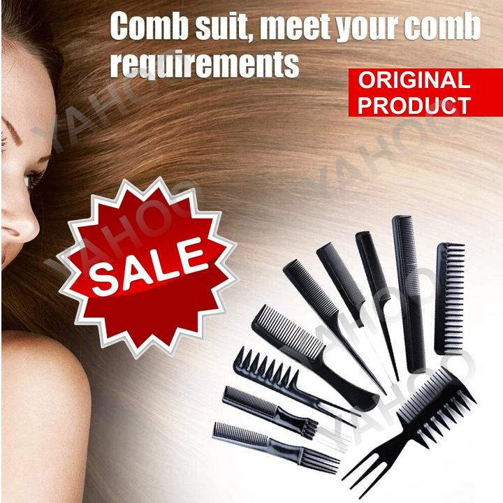 71038833d3dab Professional Styling Comb Set Salon Hairdressing Styling Tool Hair Cutting  Comb Kit Great For All Hair Types & Styles 10 Pcs Salon Combs Set Black ...