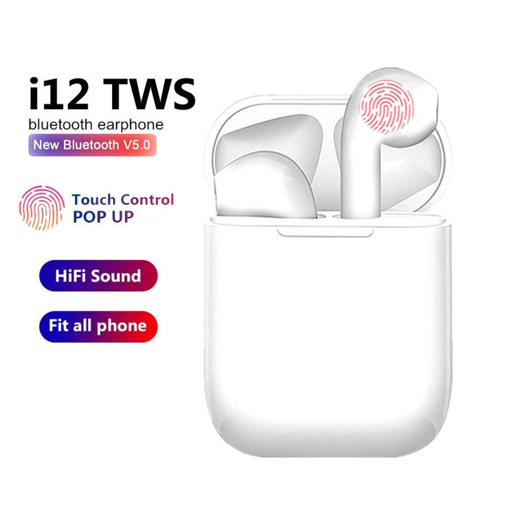 i12 Bluetooth Earphones with in Built Mic and High Bass Level Supporting All Smart Phone & Device