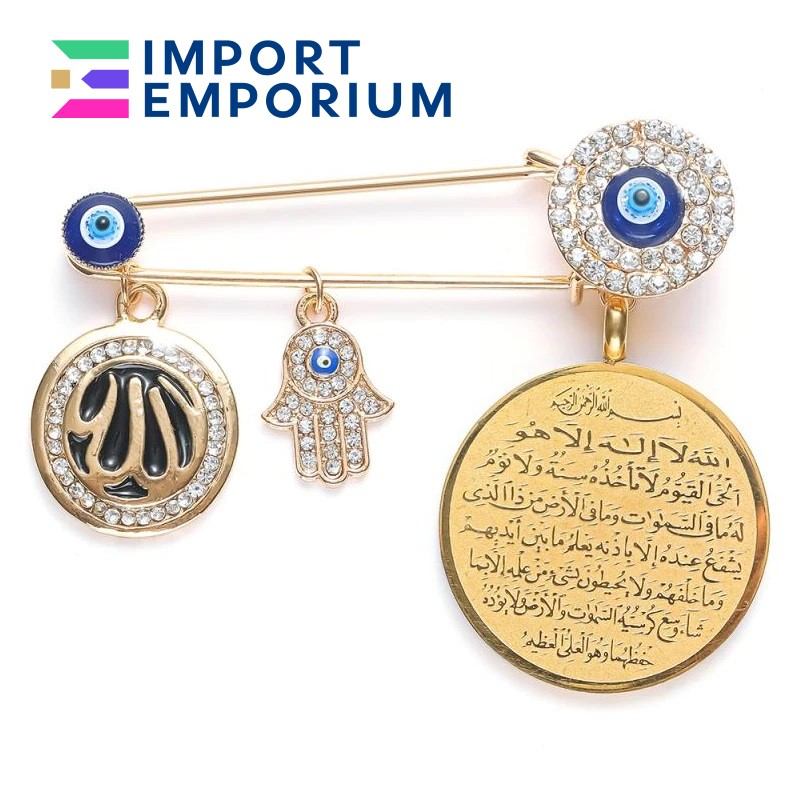Black Gold High Quality Metal Turkish Fashion Jewelry Baby Pin Brooch, Stroller, Newborn Pendant, Evil Eye Protection Clothing Accessories for Babies Men & Women with Free Gift Box