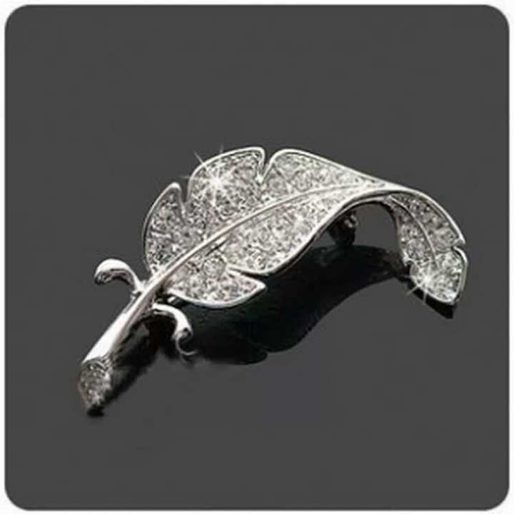 Crystal Curved Leaf Brooches Pins For Men & Women Shirt Collar Broches