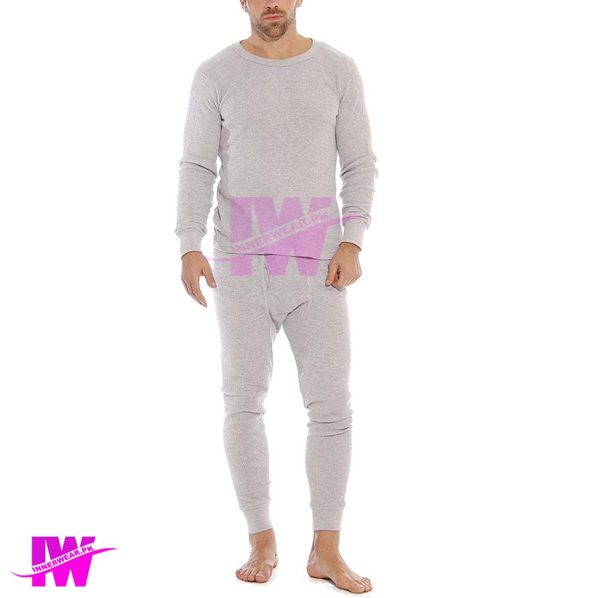 Men Premium Full Body Suit Thermal Body Warmer Skin Tight Stretchable Innerwear Winter Warm Long Johns Trouser Pajama Full Sleeve Shirt Light Grey / Silver