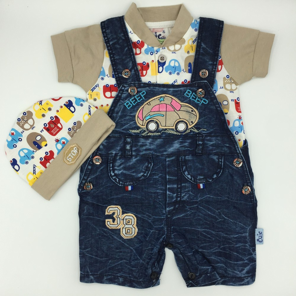 High Quality Baby Boy Girl Summer Denim Romper Suit Set Dungaree with Shirt and Cap 0-3 Months Infants Toddlers Gift Babies Present