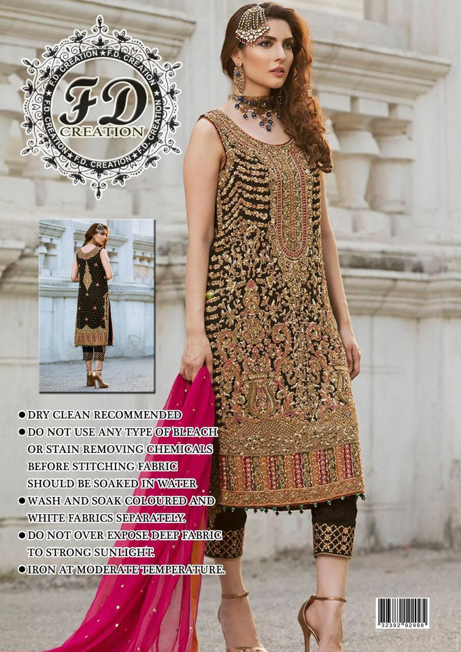 5fa72ea4ca 3 PCS UNSTITCHED SUIT WITH CHIFFON SHIRT, CHIFFON AND NET DUPATTA WITH  MALAI TROUSER WITH
