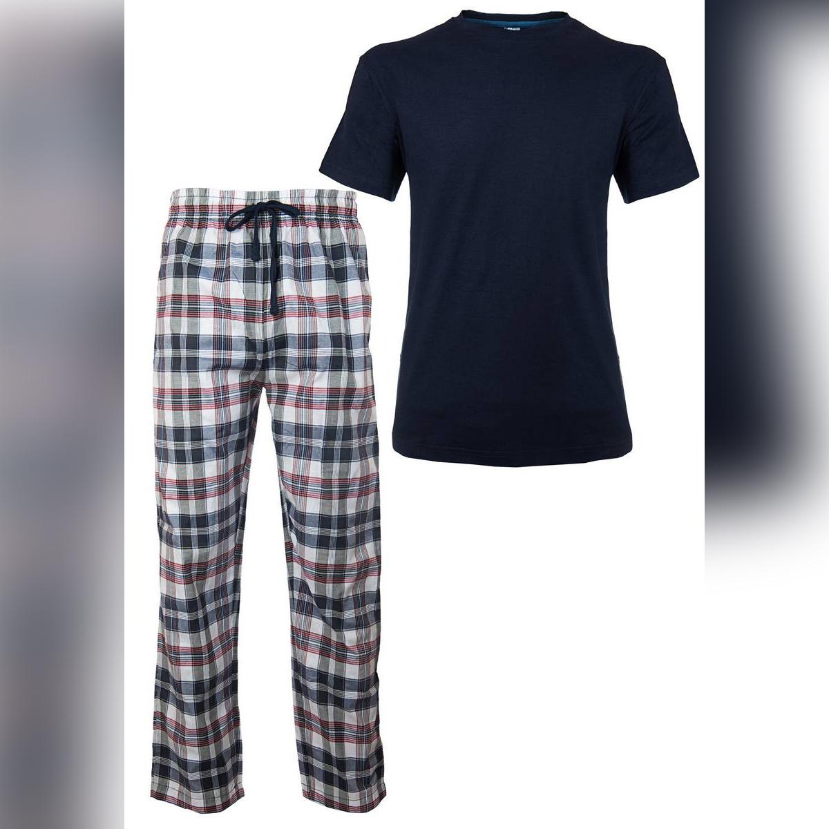 Men's New Pyjamas Set, Checked Pyjamas for Men, Men's Pj's Cotton Short Sleeves Round Neck T-Shirts, Woven Men's Pyjamas. NEW Men's CHECK Print Pyjama Set, Lounge Wear, Short Sleeve T Shirt Top, Night Wear. ~ Navy 2