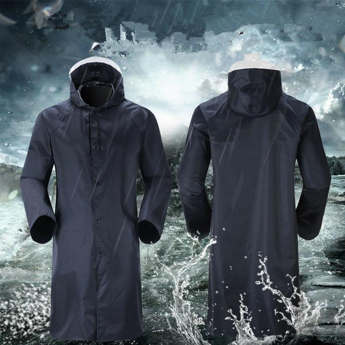 Mens Portable Long Outdoor Waterproof Hooded Trench Coat Rain Coat Rainwear Clothing Raincoat Breathable Quick-Drying Jackets Raincoat.