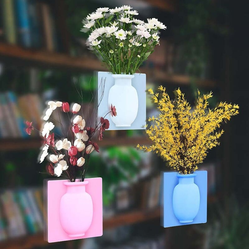 PACK OF 3PCS -Magic Rubber Silicone Sticky Flower wall hanging Vase Container Floret Bottle