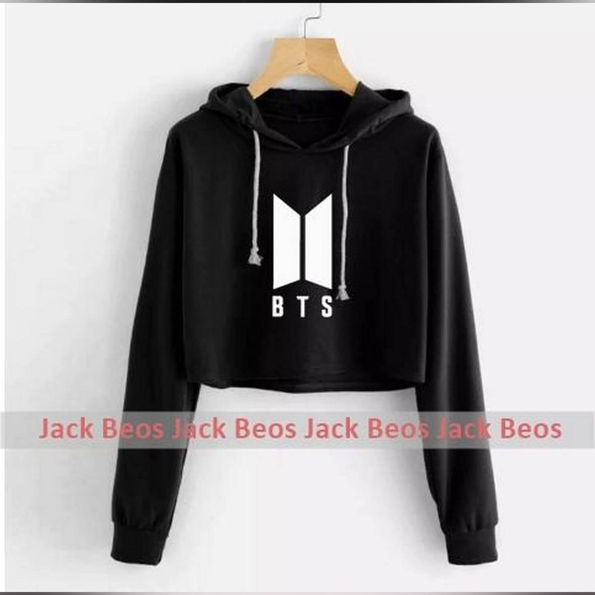 BTS Black Pullover Croped Hoodie For Women Long Sleeve