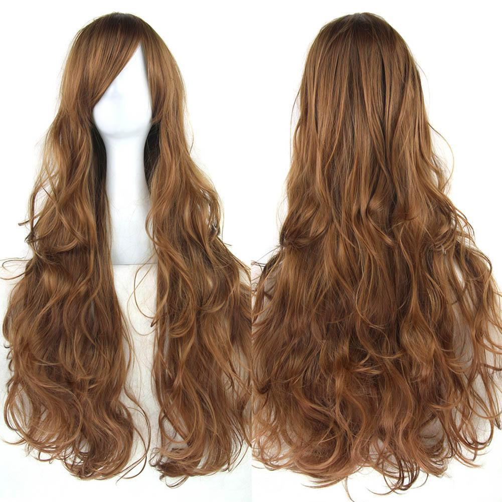 80cm Women Long Curly Wig Heat Resistant Fiber Synthetic Hair Lady Girl Cosplay Full Wigs for Party