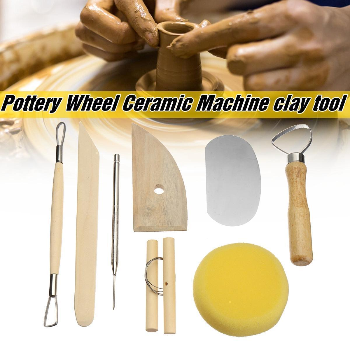 Flash Deal8Pcs Wooden Silicone Rubber Handle Clay Sculpting Tools Pottery  Sculpture Clay Molding Pottery Tools Set