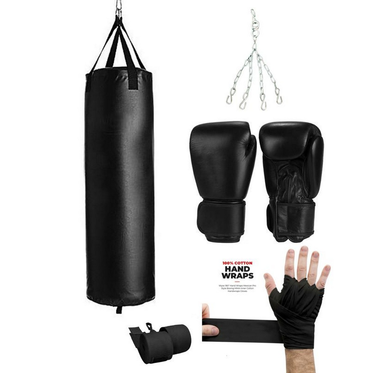 4 four ft sand bag punching Boxing Bag with Chain & Gloves bandages hand wraps