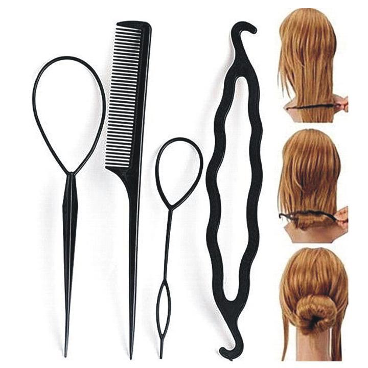 4 Pcs Set Styling Clip Bun Maker + Hair Twist Braid Ponytail Tool With Rat Tail Comb Tool Makes stylish hair Volumes Up Hair