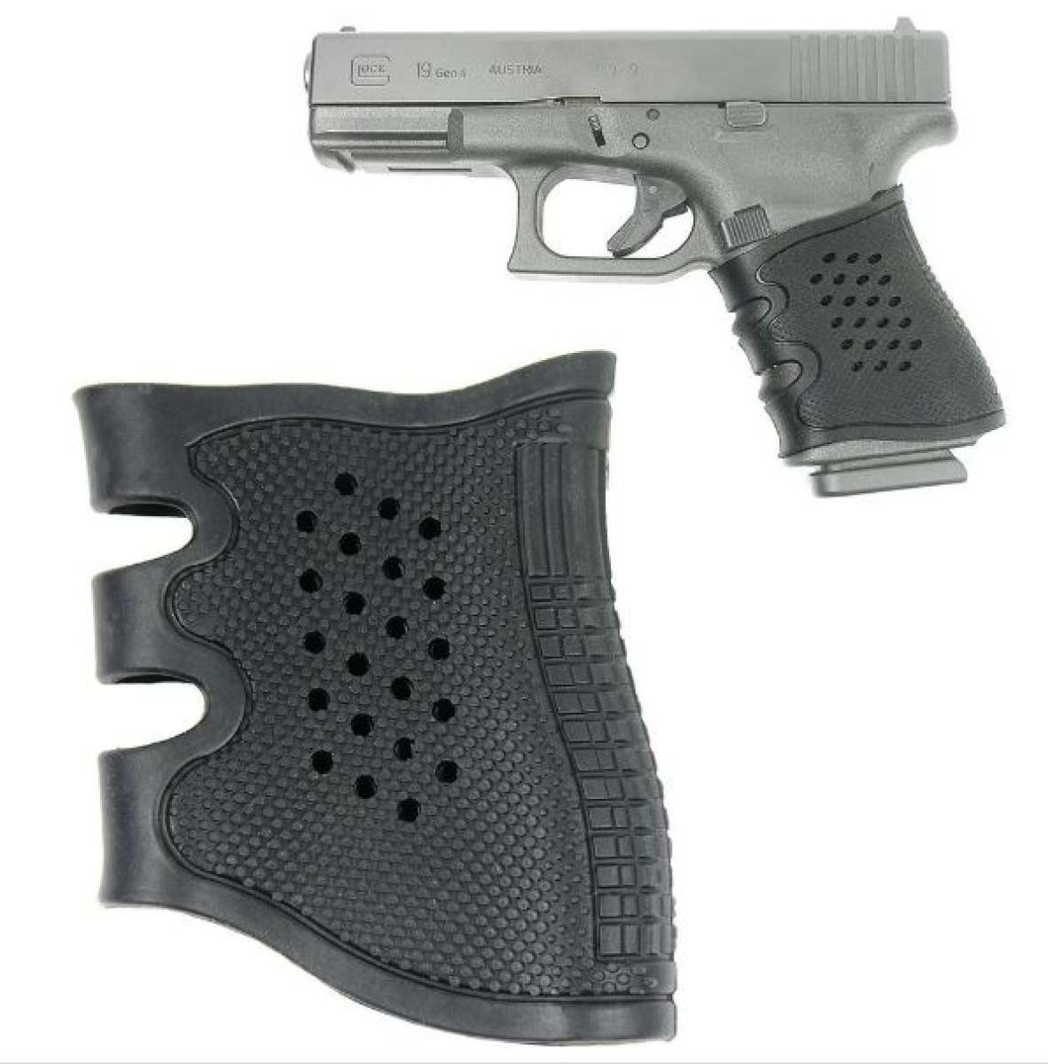 Anti Slip Black Rubber Grip Sleeve For Glack and other 9mm