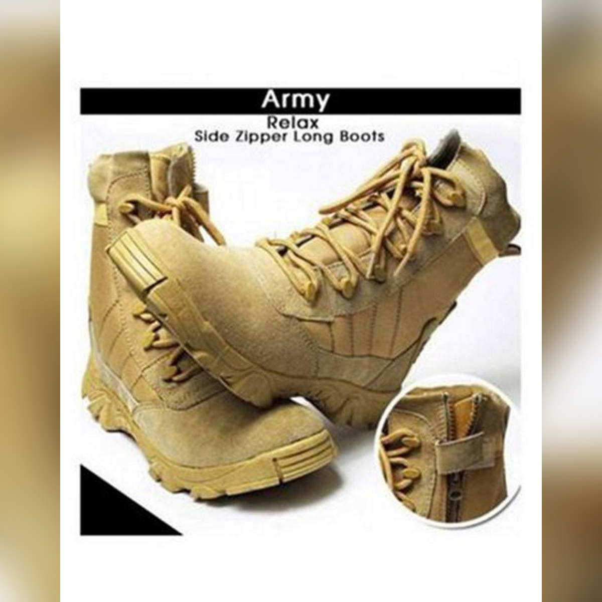 Beige Suede Leather Long Army Boots