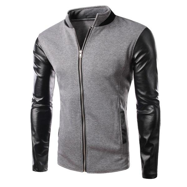 Base Ball Collar Jacket With Leather Sleeves For Men