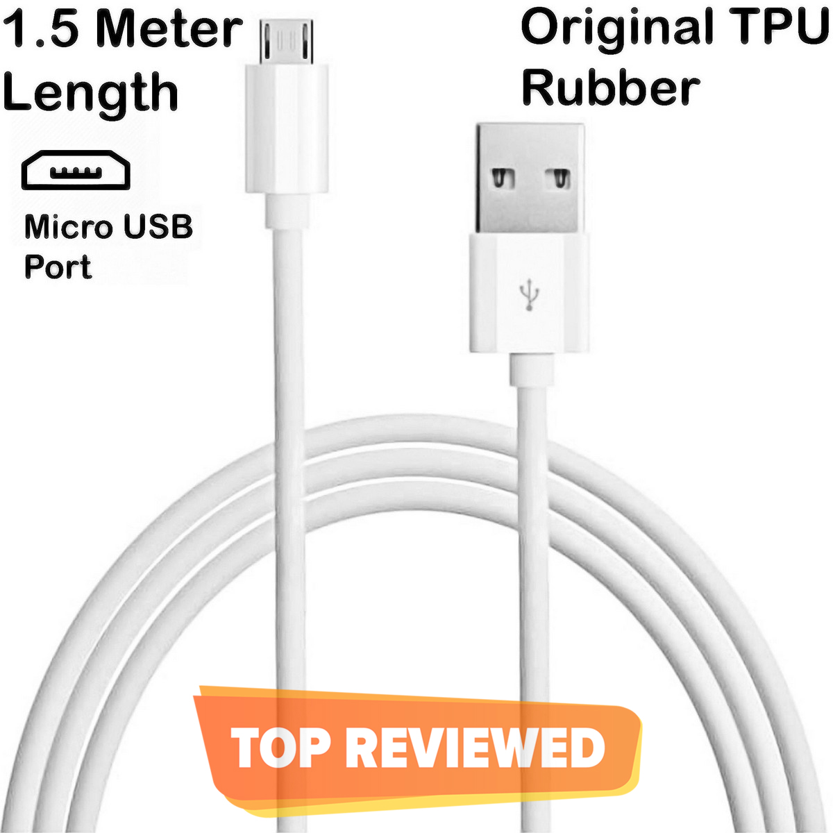 ORIGINAL 1.5 Meter Micro USB Fast Charging + Data Cable / Sync Cable For Samsung / HTC / Infinix / Xiaomi / Oppo / Huawei / Nokia / Lenovo / Android Phones - White